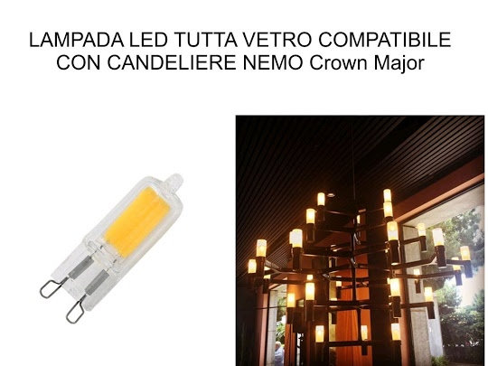 LAMPADA G9 LED COB 2W =22W IN VETRO LUCE CALDA 3000K 220 LUMEN NEMO CROWN MAJOR COMPATIBILE